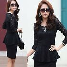 Sexy Women's Lady Girl Sheath Bodycon Slim Lace Gauze Top Evening Dress L XL