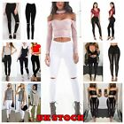 NEW LADIES SKINNY FIT RIPPED STRETCHY  PANTS WOMENS JEGGINGS TROUSERS SIZE 8-14