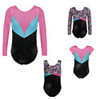Girls Sport Training Gymnastic Leotards Metallic Ballet Dancing Bodysuit 5-14Y