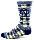 Notre Dame Fighting Irish Adult Blue and Vegas Gold Double Plaid Crew Socks