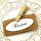 Personalised Burlap Place Cards with Wooden Pegs for Rustic Wedding/Party