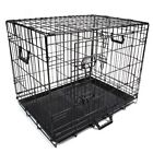 """24"""" 30"""" 42"""" 48"""" Pet Kennel Cat Dog Folding Crate Wire Metal Cage w /Divider &Tray"""
