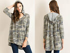 OLIVE GREEN CAMO HOODIE Camouflage Long Sleeve Tunic Top Shirt V-Neck NEW S M L