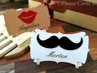 Personalised Felt Mustache & Lips Place Cards Bridal Shower Bachelorette Party