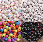 ALPHABET Flat Round Coin Acrylic Beads Assorted Color Letters 7.5MM