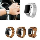 Genuine Leather Wrist Bands Buckle Bracelet Stainless Steel Band For Apple watch
