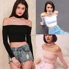 Womens Sexy  Slash Neck Hater Off Shoulder Casual T-shirt Choker Crop Top N98B