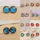 1pair Cabochon Photo Earrings Post Dome Womens Ladies Cherry Stud Glass Popular