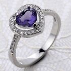 Love Heart Amethyst Topaz Gemstone Wedding Jewelry 925 Silver Ring Size 6-10