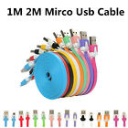 100X 1M 2M V8 Flat Noodle Cable Micro USB Sync data charger Cable For Samsung
