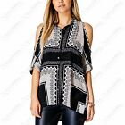NEW LADIES CUT OUT COLD SHOULDER SCARF PRINT BLOUSE WOMENS HILO LOOK MONO SHIRT