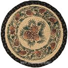 Pinecones Round Braided Jute Chair Pad with 2 Tie Ribbons, #49-CH025A