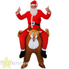 REINDEER PICK ME UP WITH SANTA COSTUME CHRISTMAS FANCY DRESS PIGGY BACK XMAS