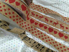 HESSIAN Non Wired Printed Ribbon - 3 CHRISTMAS designs HEART or MUSIC NOTE NEW!!