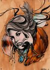 The Infinite Hunt by Chris Allen New Age Woman and Fox Tattoo Canvas Art Print