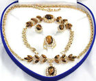 Real Tigereye Tiger's Eye Crystal Pendant Necklace Bracelet Earrings Ring Set