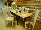 Large Rustic Oak Farmhouse Kitchen EXTENDING Dining Set Table & Chairs Painted