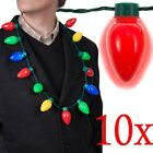 10x Christmas Large Bulb Necklace LED Light Up Party Favors
