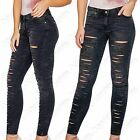 LADIES MULTI RIP CUT FRONT GREY SKINNY JEANS WOMEN DENIM HIGH WAISTED LOOK PANTS
