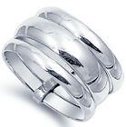925 Sterling Silver Plain 13 mm Wide Layered 3 Piece in 1 Band Ring Size 5-13