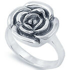 925 Sterling Silver Sideways Shiny Rose Flower Woman's Promise Ring Size 3-11