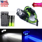 ZOOM 60000LM Tactical 5x XML-T6 LED Headlamp Head Flashlight 18650+Charger USA