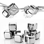 4 x Instant Chilling Reusable Stainless Steel Ice Cube Whiskey Stone Wine Cooler