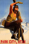 PARK CITY UTAH SKI MOUNTAINS SUNNY DAY WINTER SPORT SKIING VINTAGE POSTER REPRO