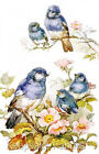 Five Bluebirds Amid Apple Blossoms Quilt Block Multi Sizes FrEE ShiP WoRld WiDE
