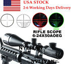 US Illuminated6-24x50AOEG Red/Green Mil Dot/Rangefinder Scope Sight 4 Rifle Hunt