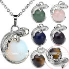Pick Vintage Silvery Round Ball Gemstone Alloy Lizard Pendant Womens Jewelry 1x