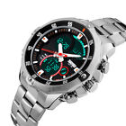 SKMEI Mens LED Stainless Steel Date Digital Dual Time Sport Military Wrist Watch