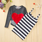 Girls Kids Cotton Long Sleeve Top Shirt+Striped Dress 2pcs Outfits 2-7Y Clothes
