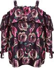 New Simply Be Emily Purple Floral Satin Gypsy Off Shoulder Ruffle Plus Size Top