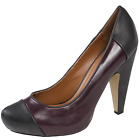 Womens Two Tone Platforms Chunky Block High Heels Purple Work Party Shoes Size