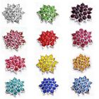 10/50pc Colorful Rhinestone Paved Alloy Flower Shape Embellishments Decoration C