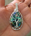 Tree of Life, Abalone Tree of Life Necklace Wire Wrapped in Sterling Silver