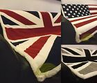 Union Jack Or US Flag Red Cream Blue Black Throw Fleece Blanket Luxury