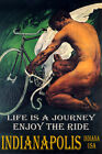 INDIANAPOLIS CYCLING MAN BICYCLE WINGS ENJOY BIKE RIDE LGBT VINTAGE POSTER REPRO