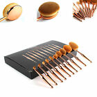 Vander 10Pcs Fashion Toothbrush Type Beauty Shaped Oval Metal Makeup Brushes Set