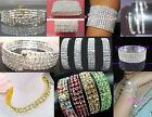 New Lots 1-12Rows Stretchy Stylish Crystal Rhinestone Bracelets More Styles