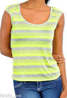 Neon Yellow/Gray Wide 2-Tone Stripe Sleeveless/Tank Top S/M/L