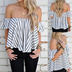 Stylish Women Off Shoulder Casual Solid Shirts Tops Tee Blusas Blouse Top