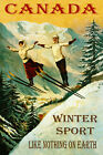 CANADA COUPLE SKI JUMPING LIKE NOTHING ON EARTH SKIING VINTAGE POSTER REPRO