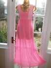 Vintage 70s Ultra Sheer Hot Pink Nylon Lacy Nightie Negligee Gown 34