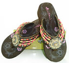 Montana West® Native American Beaded Wedge Flips Flops, Coffee/Coral *Sizes 6-11