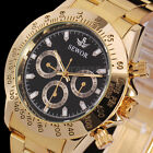 Luxury Men Gold Stainless Steel Band Automatic Mechanical Sport Wrist Watch Gift