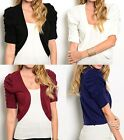 Ruched 1/2 Button/Tab SleeveCropped Bolero/Shrug/Cardigan S M L