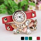 Digital Quartz Wrist Watch Women's Bracelet Flower Decor Rivet Strap Gift N98B