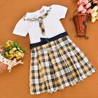 Fashion Girls Gift  Kids Plaid Checkered Party Dress Plaid Gift Short Sleeve NEW